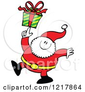 Clipart Of Santa Claus Holding A Gift On His Finger Royalty Free Vector Illustration by Zooco