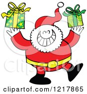 Clipart Of Santa Claus Carrying Gifts Royalty Free Vector Illustration