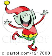 Clipart Of A Christmas Elf Dancing Royalty Free Vector Illustration by Zooco