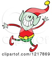 Clipart Of A Christmas Elf Waving Royalty Free Vector Illustration by Zooco
