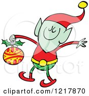 Clipart Of A Christmas Elf Holding A Bauble Royalty Free Vector Illustration