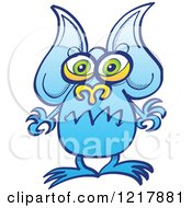 Clipart Of A Worried Blue Alien Royalty Free Vector Illustration