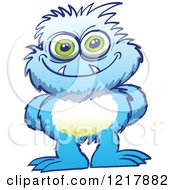 Clipart Of A Mischievous Blue Monster Royalty Free Vector Illustration by Zooco