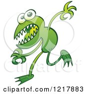 Clipart Of A Green Mutant Frog Royalty Free Vector Illustration