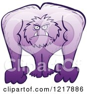 Clipart Of A Furious Purple Yeti Royalty Free Vector Illustration