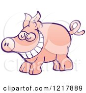 Clipart Of A Cartoon Grinning Pig Royalty Free Vector Illustration by Zooco