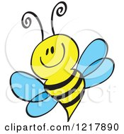 Clipart Of A Happy Smiling Bee Royalty Free Vector Illustration by Zooco