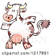 Clipart Of A Cartoon Happy Cow Royalty Free Vector Illustration by Zooco