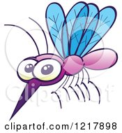 Clipart Of A Cute Mosquito Royalty Free Vector Illustration by Zooco #COLLC1217898-0152