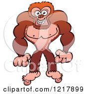 Clipart Of A Naughty Gorilla Royalty Free Vector Illustration by Zooco