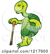 Clipart Of An Old Tortoise Walking With A Cane Royalty Free Vector Illustration