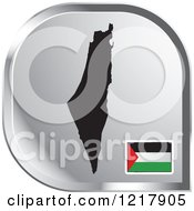 Clipart Of A Silver Palestine Map And Flag Icon Royalty Free Vector Illustration by Lal Perera