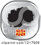 Clipart Of A Silver Macedonia Map And Flag Icon Royalty Free Vector Illustration