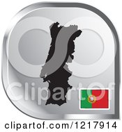 Clipart Of A Silver Portugal Map And Flag Icon Royalty Free Vector Illustration