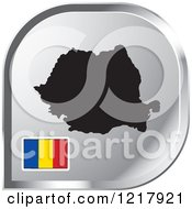 Clipart Of A Silver Romania Map And Flag Icon Royalty Free Vector Illustration