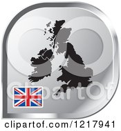 Clipart Of A Silver UK Map And Flag Icon Royalty Free Vector Illustration