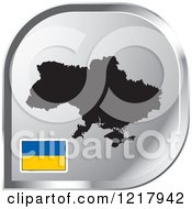 Clipart Of A Silver Ukraine Map And Flag Icon Royalty Free Vector Illustration
