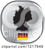 Clipart Of A Silver Germany Map And Flag Icon Royalty Free Vector Illustration