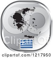 Clipart Of A Silver Greek Map And Flag Icon Royalty Free Vector Illustration