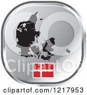 Clipart Of A Silver Denmark Map And Flag Icon Royalty Free Vector Illustration