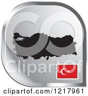 Clipart Of A Silver Turkey Map And Flag Icon Royalty Free Vector Illustration