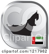Clipart Of A Silver UAE Map And Flag Icon Royalty Free Vector Illustration