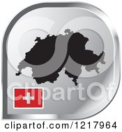 Clipart Of A Silver Switzerland Map And Flag Icon Royalty Free Vector Illustration