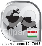 Clipart Of A Silver Tajikistan Map And Flag Icon Royalty Free Vector Illustration