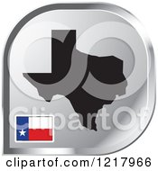 Clipart Of A Silver Texas Map And Flag Icon Royalty Free Vector Illustration