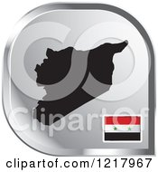 Clipart Of A Silver Syria Map And Flag Icon Royalty Free Vector Illustration