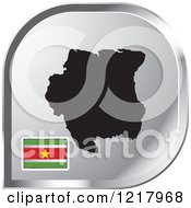 Clipart Of A Silver Suriname Map And Flag Icon Royalty Free Vector Illustration