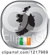 Clipart Of A Silver Ireland Map And Flag Icon Royalty Free Vector Illustration