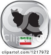 Clipart Of A Silver Iran Map And Flag Icon Royalty Free Vector Illustration