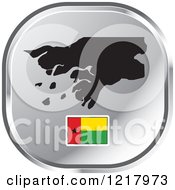 Clipart Of A Silver Guinea Bissau Map And Flag Icon Royalty Free Vector Illustration