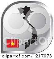 Clipart Of A Silver Vietnam Map And Flag Icon Royalty Free Vector Illustration