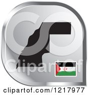 Clipart Of A Silver Western Sahara Map And Flag Icon Royalty Free Vector Illustration