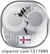Clipart Of A Silver Faroe Island Map And Flag Icon Royalty Free Vector Illustration