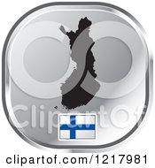 Clipart Of A Silver Finland Map And Flag Icon Royalty Free Vector Illustration