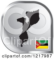 Clipart Of A Silver Mozambique Map And Flag Icon Royalty Free Vector Illustration