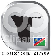 Clipart Of A Silver Namibia Map And Flag Icon Royalty Free Vector Illustration