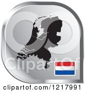 Clipart Of A Silver Netherlands Map And Flag Icon Royalty Free Vector Illustration