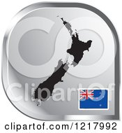 Clipart Of A Silver New Zealand Map And Flag Icon Royalty Free Vector Illustration