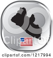 Clipart Of A Silver Liberia Map And Flag Icon Royalty Free Vector Illustration