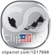 Clipart Of A Silver Malaysia Map And Flag Icon Royalty Free Vector Illustration