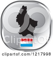 Clipart Of A Silver Luxembourg Map And Flag Icon Royalty Free Vector Illustration