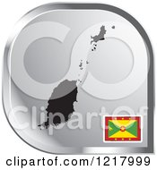 Clipart Of A Silver Grenada Map And Flag Icon Royalty Free Vector Illustration