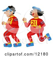 Clay Sculpture Clipart Sweaty Jogging Couple Running A Marathon Royalty Free 3d Illustration by Amy Vangsgard