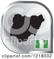 Clipart Of A Silver Nigeria Map And Flag Icon Royalty Free Vector Illustration