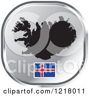 Clipart Of A Silver Iceland Map And Flag Icon Royalty Free Vector Illustration