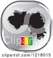 Clipart Of A Silver Guinea Map And Flag Icon Royalty Free Vector Illustration by Lal Perera